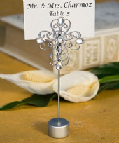 Decorative Cross Design Place Card Holder